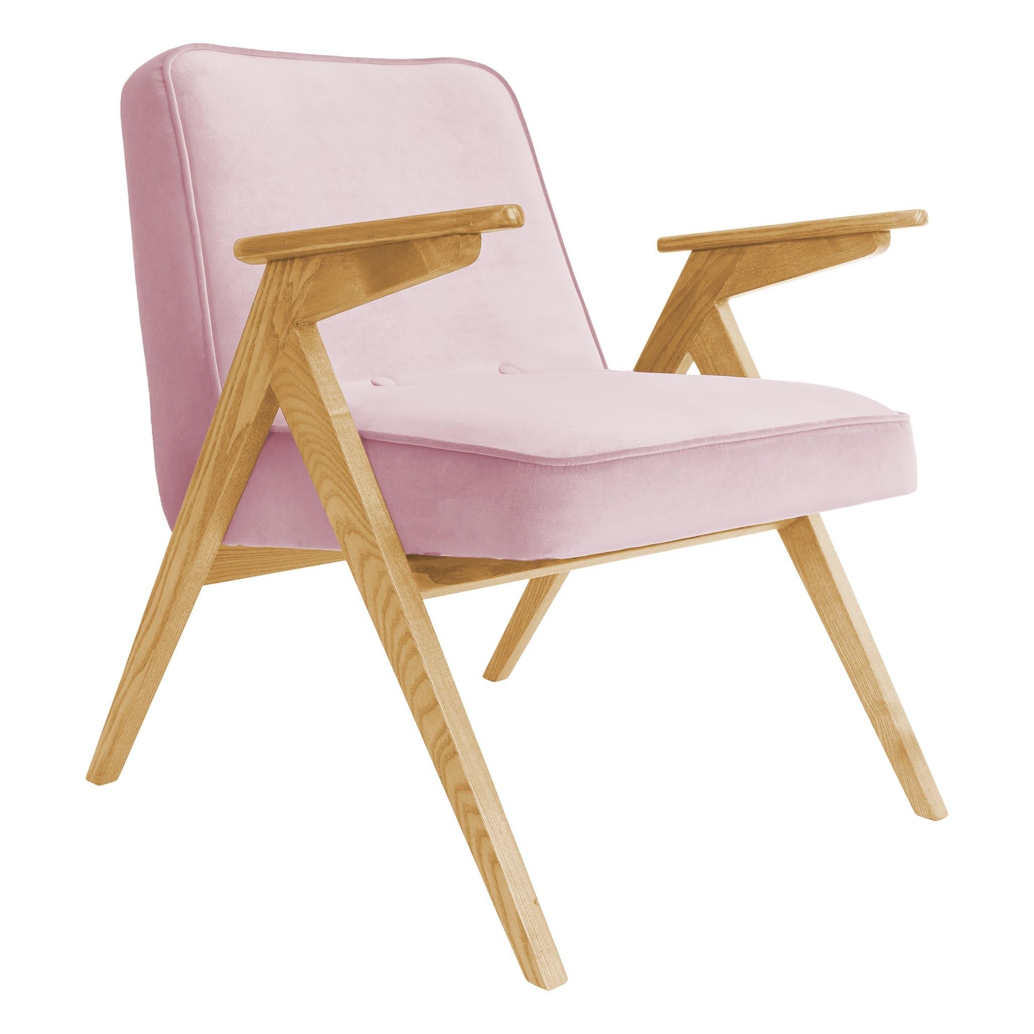 366 Concept Bunny armchair Velvet 12 Powder Pink Oak
